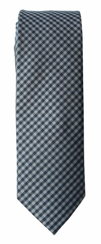 Brand Q Mens Check Blue Gray Skinny Neck Tie + Pocket Square