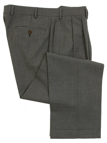 Famous American Designer Mens Double Pleated Medium Gray Wool Dress Pants