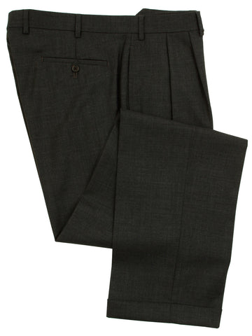 Famous American Designer Mens Double Pleated Charcoal Gray Wool Dress Pants