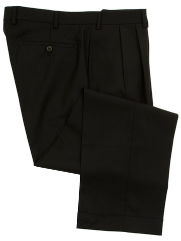Ralph Lauren Mens Double Pleated Black Wool Dress Pants