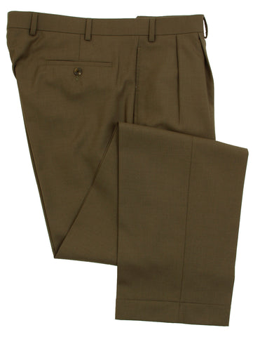 Famous American Designer Mens Double Pleated Olive - Light Brown Wool Dress Pants