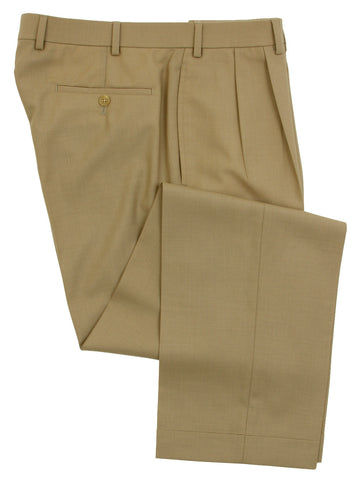 Ralph Lauren Mens Double Pleated Tan Wool Dress Pants