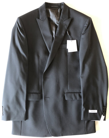 Calvin Klein Mens Black Stripe Slim Fit Wool Suit