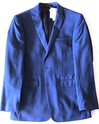 Calvin Klein Mens Navy Blue Pindot Extreme Slim Fit Wool Suit