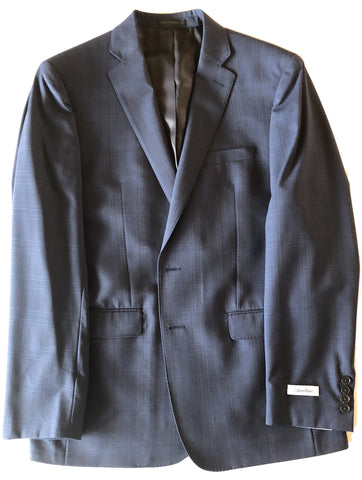 Calvin Klein Mens Navy Blue Windowpane Slim Fit Wool Suit