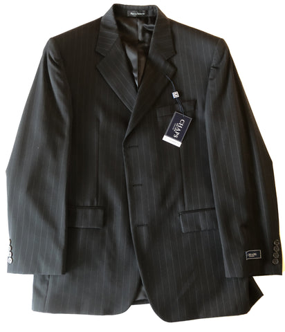 CHAPS Mens Black Striped 3 Button Pleated Wool Suit