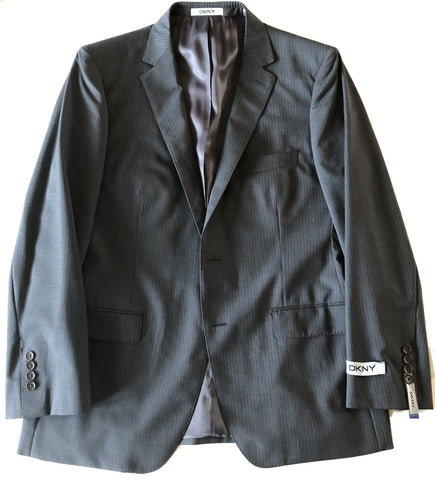 DKNY Mens Dark Gray Stripe Slim Fit Wool Suit