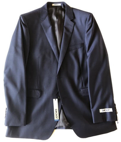 DKNY Mens Navy Blue Solid Slim Fit Wool Suit