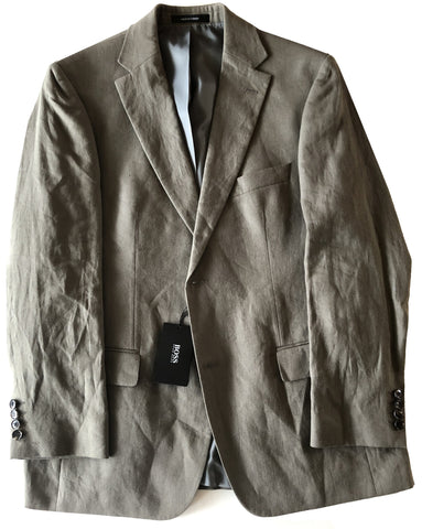 Hugo Boss Mens Solid Olive Pasolini Movie Linen Suit