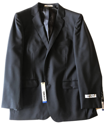 DKNY Mens Black Striped Slim Fit Wool Sport Coat Jacket Blazer