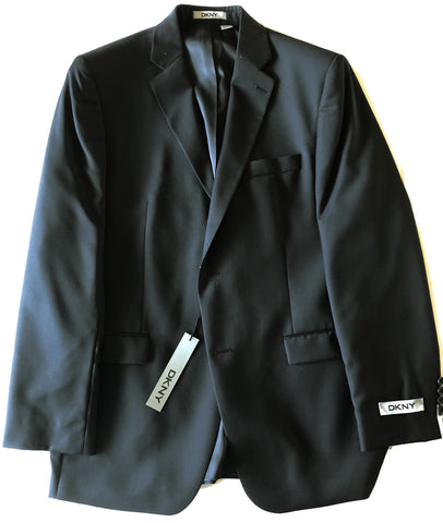 DKNY Mens Black Tonal Striped Wool Sport Coat Jacket Blazer