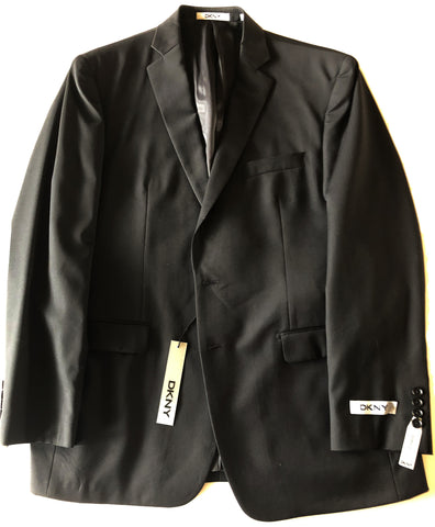 DKNY Mens Black Solid Trim Fit Wool Sport Coat Jacket Blazer