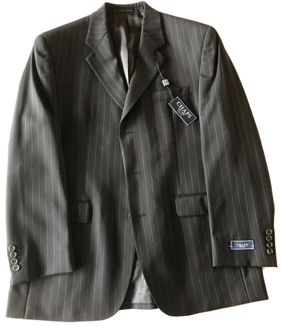 CHAPS Mens Black Pinstripe Wool Sport Coat Jacket Blazer