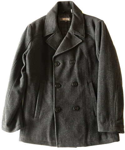 Kenneth Cole Mens Solid Charcoal Gray Wool Peacoat Jacket