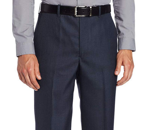 Perry Ellis Classic Fit Mens Flat Front Dress Pants Shark Azure Blue 34x30