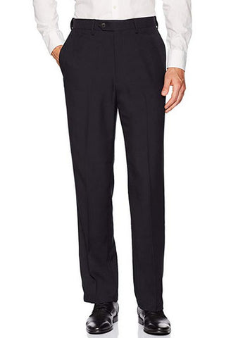 Haggar Mens Stria Expandable Waist Flat Front Navy Blue Dress Pant 34x30