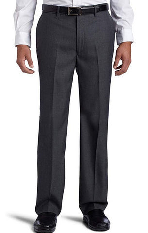 Perry Ellis Mens Portfolio Classic Fit Flat Front Charcoal Gray Sharkskin Dress Pants 38x30