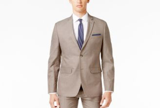 Perry Ellis Slim Fit Portfolio Comfort Stretch Suit Jacket Mens Beige 42R