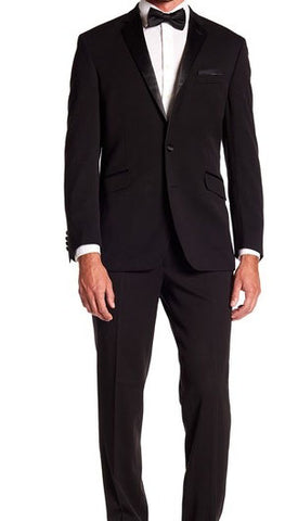 Kenneth Cole Reaction Mens Slim Fit Performance Black Suit Tuxedo 36S 29Wx32L