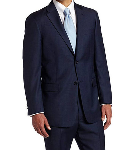 Tommy Hilfiger Mens Sport Coat Jacket Navy Sharkskin Modern Blue Wool 42L