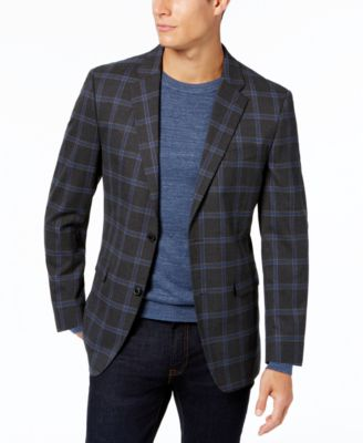 Tommy Hilfiger Mens Slim Fit Stretch Dark Grey Blue Plaid Sport Coat Jacket 43R