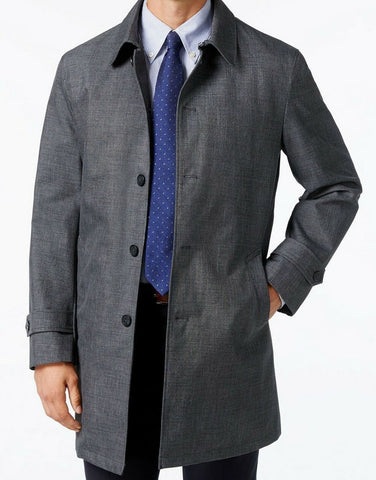 Tommy Hilfiger Mens Sharkskin Raincoat Grey 38S