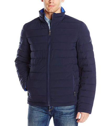 New Nautica Mens Quilted Stretch Reversible Jacket Coat Navy Blue Medium