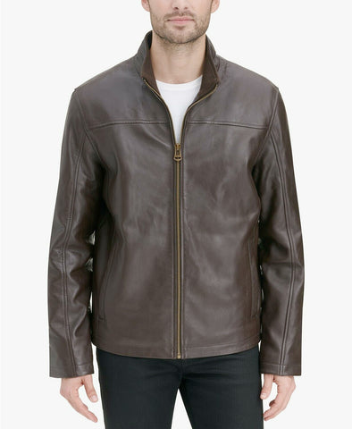 Mens Cole Haan Buck Solid Leather Zip Up Leather Coat Jacket Large
