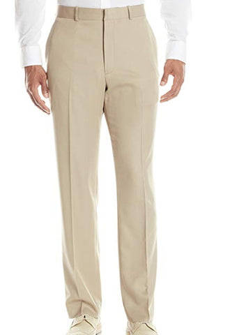 Mens Perry Ellis Beige Solid Modern Fit Polyester Dress Pants 38X30