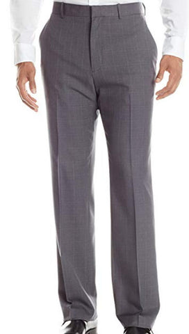 Mens Perry Ellis Gray Plaid Modern Fit Polyester Dress Pants 38X30