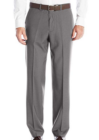 Mens Perry Ellis Medium Gray Pindot Classic Fit Polyester Blend Dress Pants 36X32