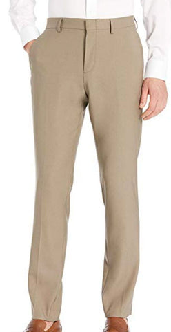 Mens J Ferrar Light Brown Solid Slim Fit Polyester Blend Dress Pants 30X32