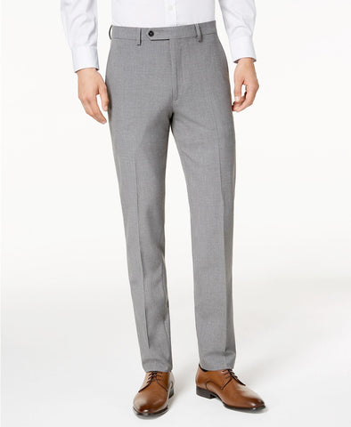Mens Calvin Klein Gray Solid Skinny Fit Polyester Blend Dress Pants 34X32