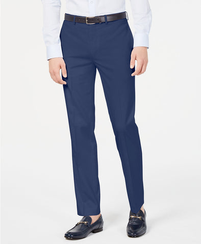 Mens Calvin Klein New Blue Solid Slim Fit Polyester Blend Dress Pants 34X32