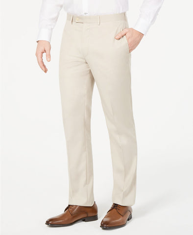 Mens Calvin Klein Beige Solid Slim Fit Polyester Blend Dress Pants 34X32
