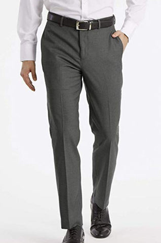 Mens Calvin Klein Medium Gray Solid Slim Fit Polyester Blend Dress Pants 34X32