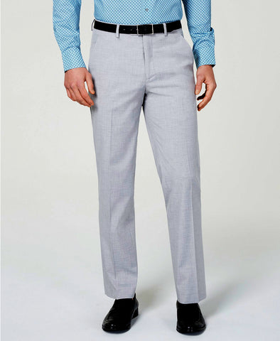 Mens Alfani Light Gray Shark Slim Fit Polyester Blend Dress Pants 38X32