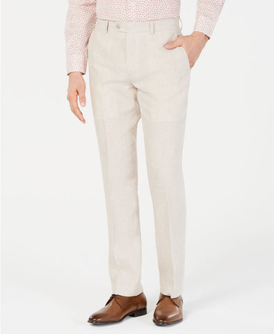 Mens BAR III Beige Solid Slim Fit Linen Dress Pants 34X30