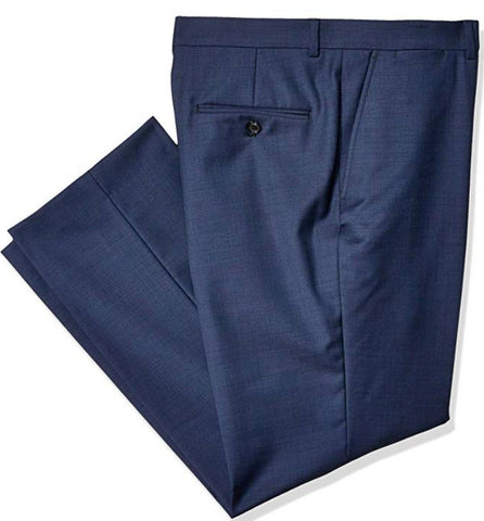 Mens Tommy Hilfiger Navy Blue Solid Modern Fit Wool Blend Dress Pants 32X32