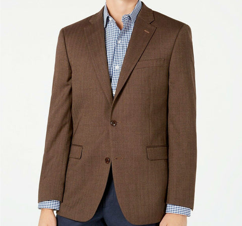 Mens Tommy Hilfiger Brown Herringbone Flex Fit Sport Coat Jacket Blazer 40R