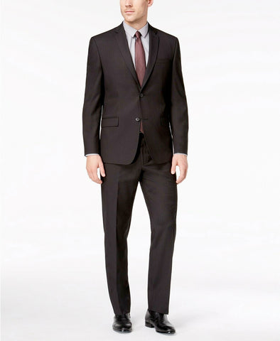 Mens Andrew Marc Black Nailhead Classic Fit 2 Button Flat Front Suit 42R