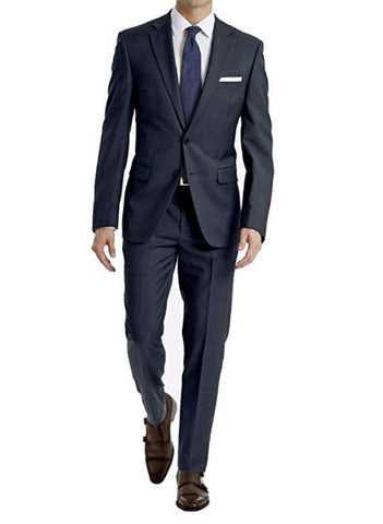 Mens Calvin Klein Navy Blue Solid Extreme Slim Fit Wool 2 Button Flat Front Suit 42S