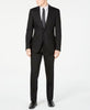 Mens Calvin Klein Black Tonal Stripe Extreme Slim Fit Wool 2 Button Flat Front Suit 48L
