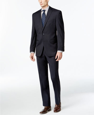 Mens Calvin Klein Navy Blue Solid Slim Fit Wool 2 Button Flat Front Suit 46L