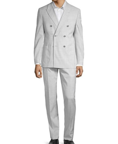 Mens Tallia Orange Light Gray Solid Slim Fit Wool Blend Double Breasted Suit 36S