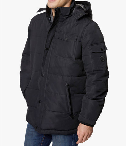 Mens Nautica Quilted Hooded Black Parka Winter Coat Jacket XL