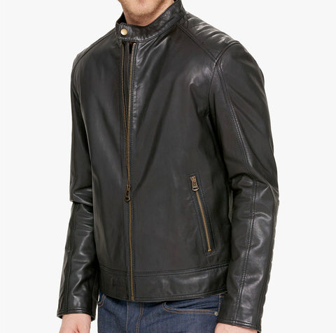 Mens Cole Haan Black Solid Leather Zip Up Leather Coat Jacket Small
