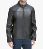 Mens Cole Haan Black Solid Leather Zip Up Leather Coat Jacket XXL