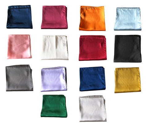 "NEW Lot of 14 Solid 100% Silk Pocket Squares - Multi Colors -12.5"" x 12.5"""