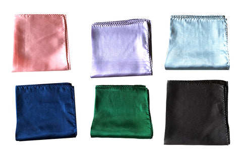"NEW Lot of 20 Solid 100% Silk Pocket Squares - Multi Colors -12.5"" x 12.5"""